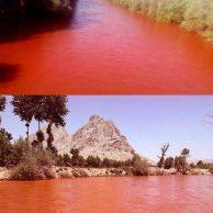 ماجرای قرمز شدن آب زاینده رود + عکس و جزییات کامل سرخ شدن زاینده رود