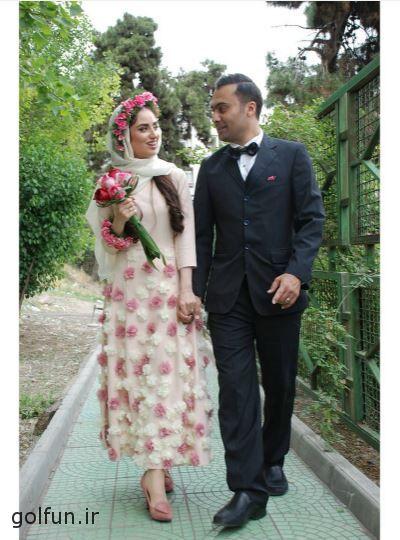 اولین عکس منتشر شده هانیه غلامی و همسرش با لباس عروس و داماد
