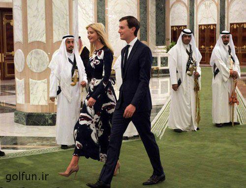 فیلم رقص شمشیر دونالد ترامپ + نگاه خیره سعودی ها به دختر و داماد دونالد ترامپ