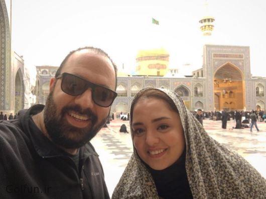 علی اوجی و همسرش نرگس محمدی زوج تازه ازدواج کرده در حرم امام رضا
