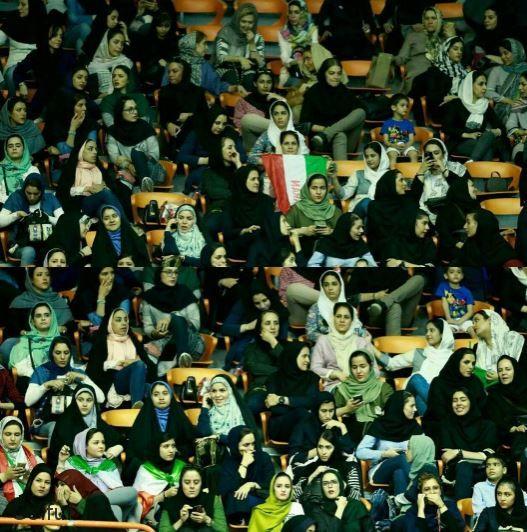 تصاویر حضور زنان و دختران ایرانی در ورزشگاه آزادی برای تماشای والیبال ایران - بلژیک
