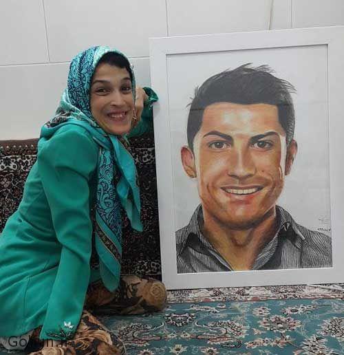 کشیدن نقاشی کریستیانو رونالدو توسط فاطمه حمامی دختر معلول ایرانی