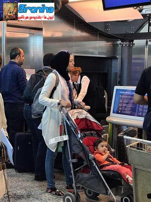 تیپ خفن آزاده نامداری در فرودگاه میلان ایتالیا + فیلم جدید آزاده نامداری